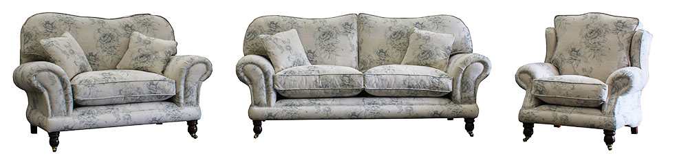Alexandra 3 Seater, Love Seat, Chair with Fibre Seats in Chatsworth Wedgewood [Platinum Collection]