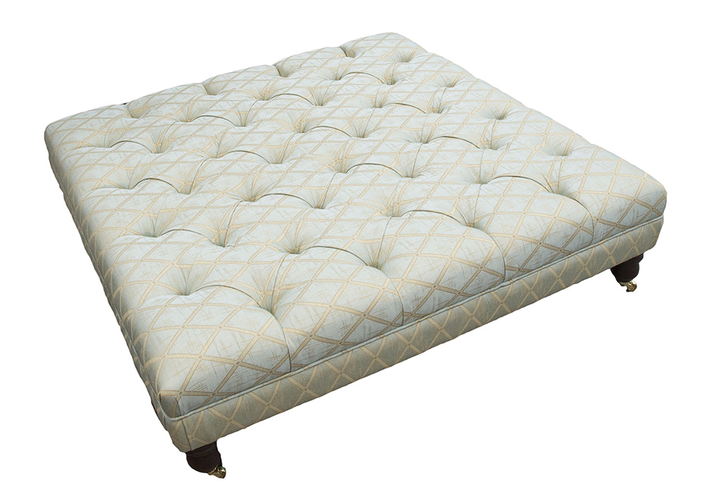 Deep Button Ottoman (Bespoke Size - 140cm x 140cm) Cozy Trillis - Platinum Collection