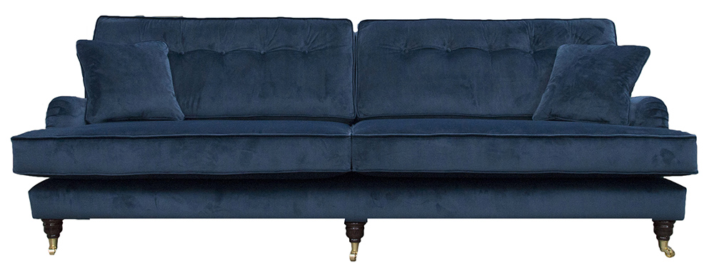 Holmes Sofa (Bespoke Length - 250cm) Button Back - Luxor Pacific - Silver Collection