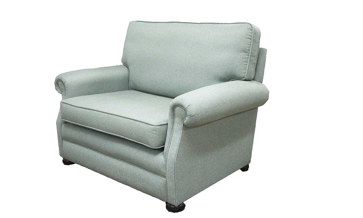 Blair Love Seat in Aosta Duck Egg Silver Collection of Fabrics