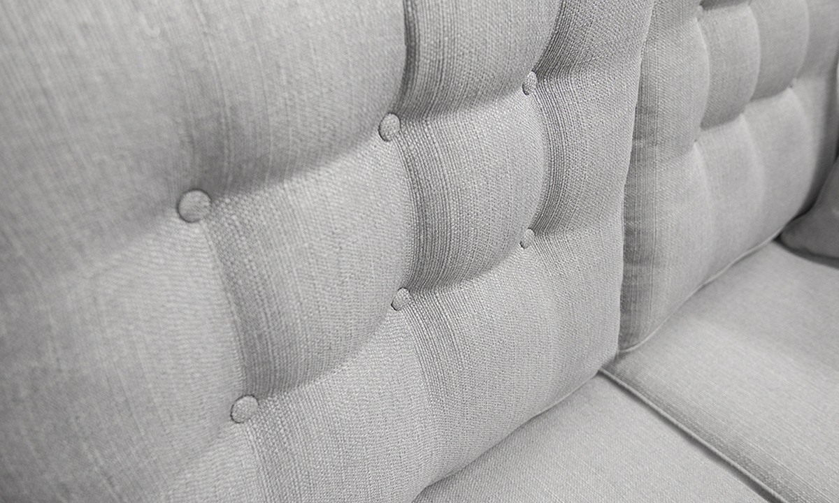 Bespoke Boland Sofa Detail, 2 Rows of Light Buttons in Aosta Silver, Silver Fabric Collection
