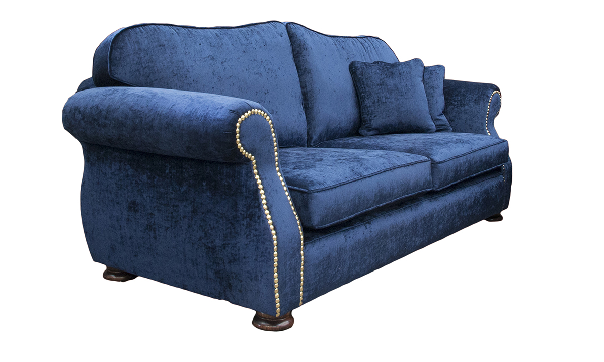 Bespoke Cameo Large Sofa with a Brass Studding Arm in Mancini Carbon