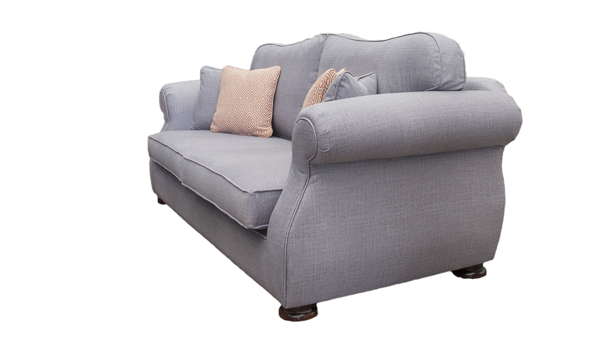 Cameo Large Sofa in Havana Steel, Silver Collection Fabric