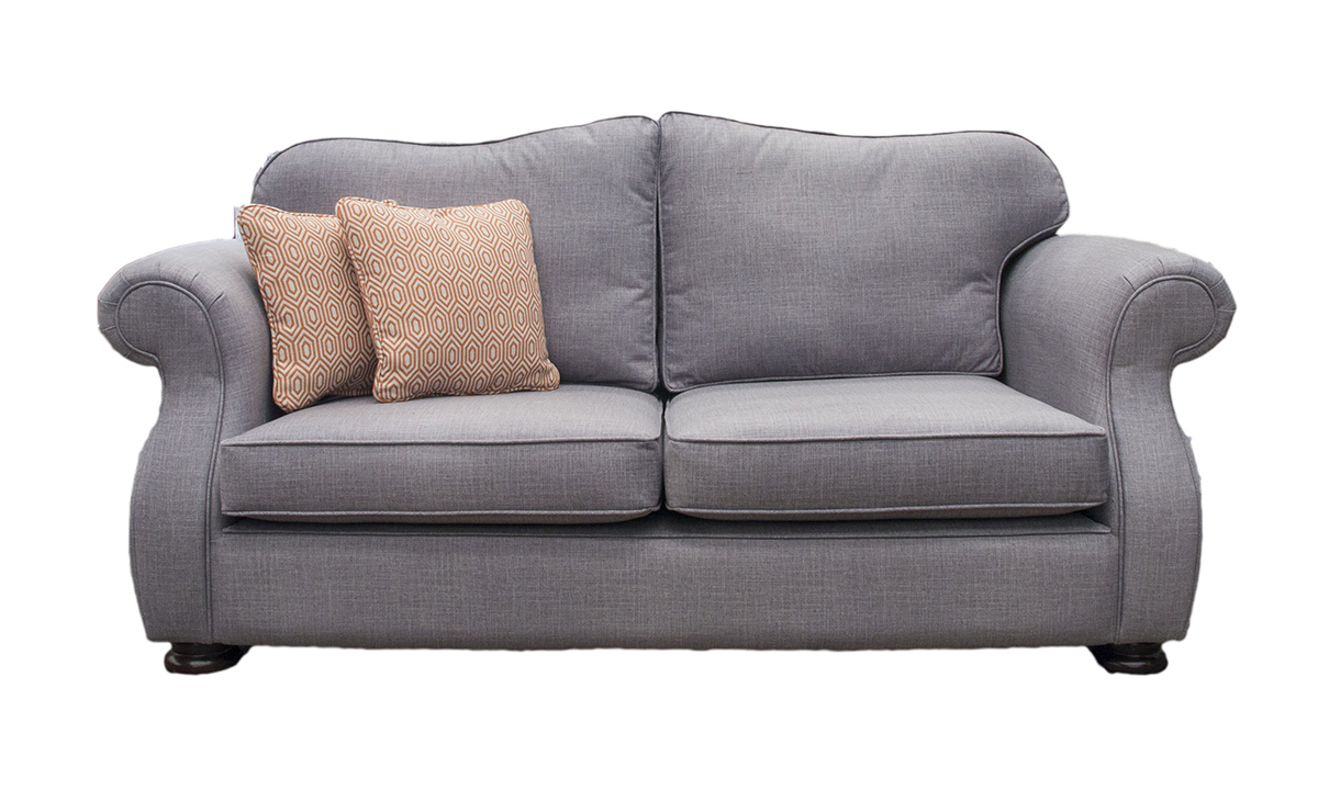 Cameo Small Sofa in Havana Steel, Silver Collection Fabric