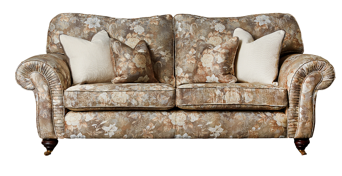 Capella Large Sofa in Oasis Pattern Pewter Platinum + Collection Fabric