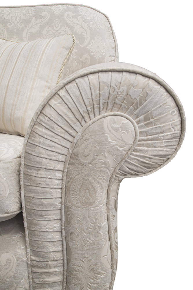 Capella Sofa Arm Pleating Detail - Tolstoy Pattern Snow