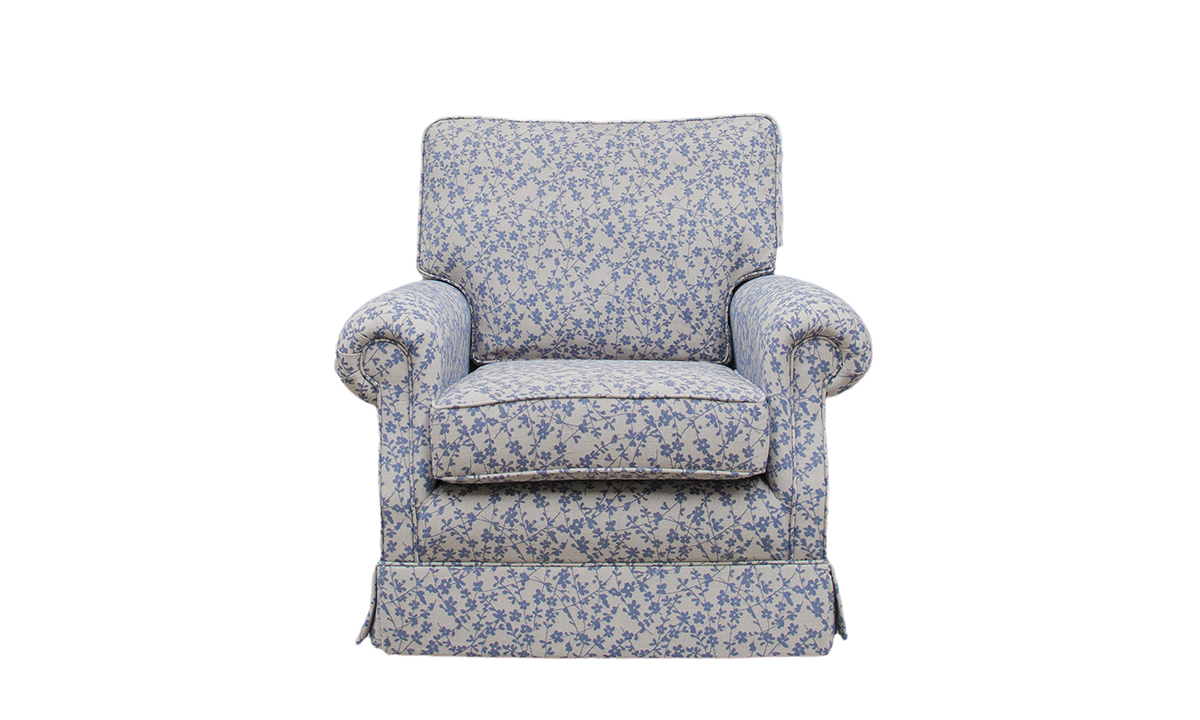 Clare Chair in  Kwint Navy, Silver Collection Fabric
