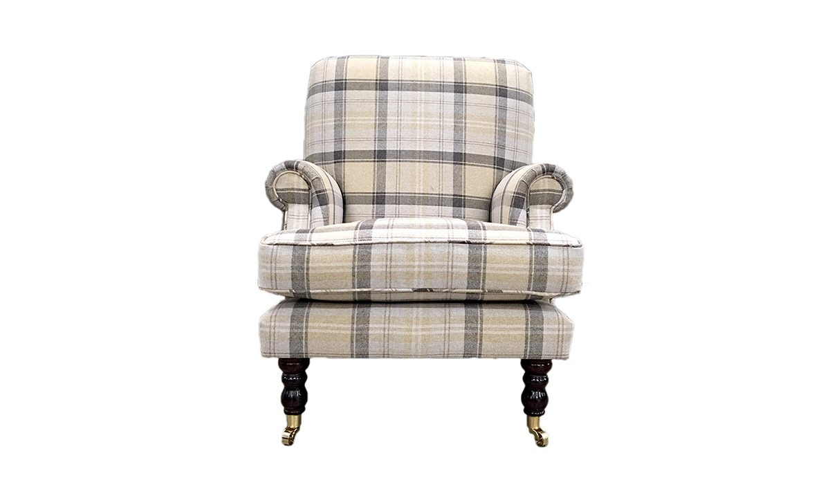 Cleary Chair in Aviemore Plaid Chocolate, Silver Collection Fabric