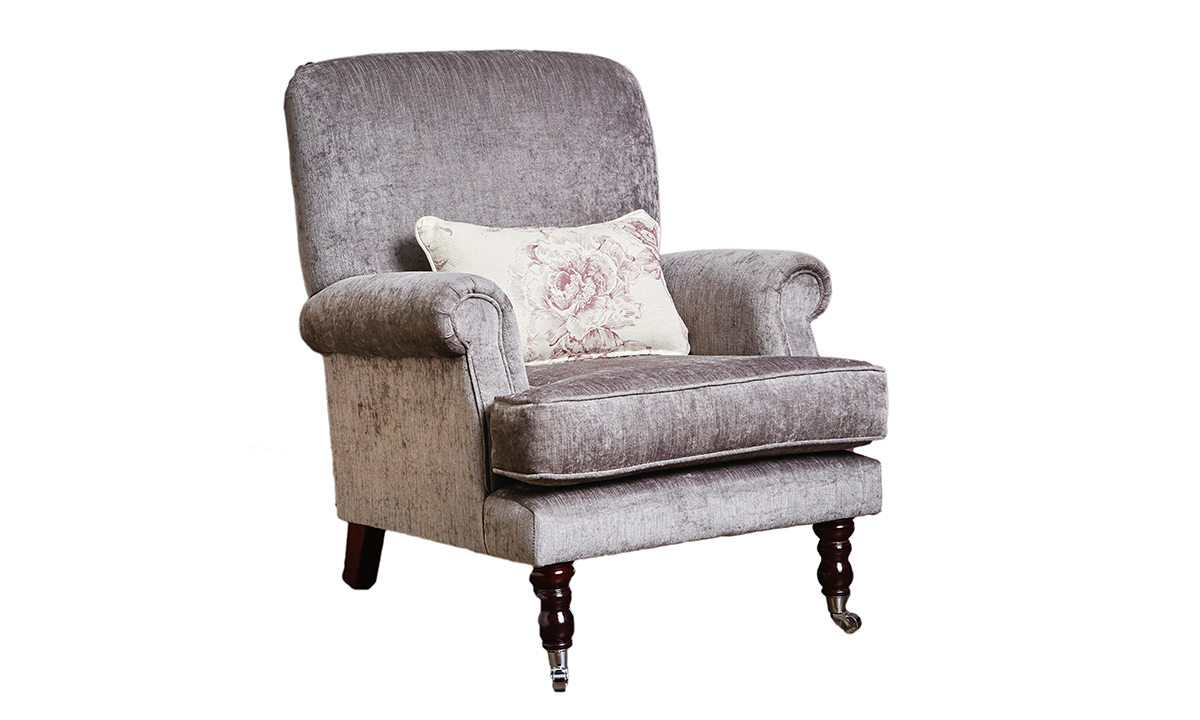 Cleary Chair in Edinburgh Truffle, Silver Collection Fabric