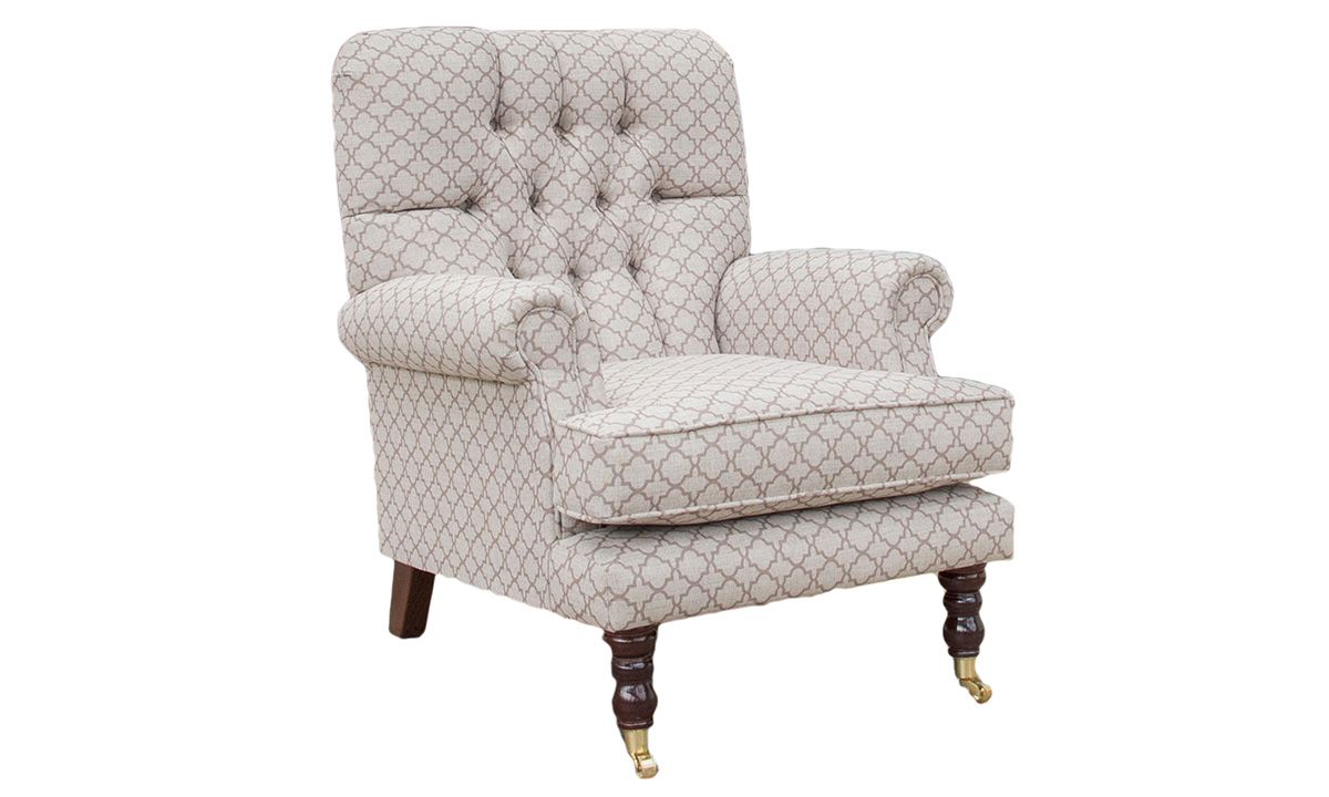Deep Buttoned Cleary Chair Digital_Trellis - Silver collection side