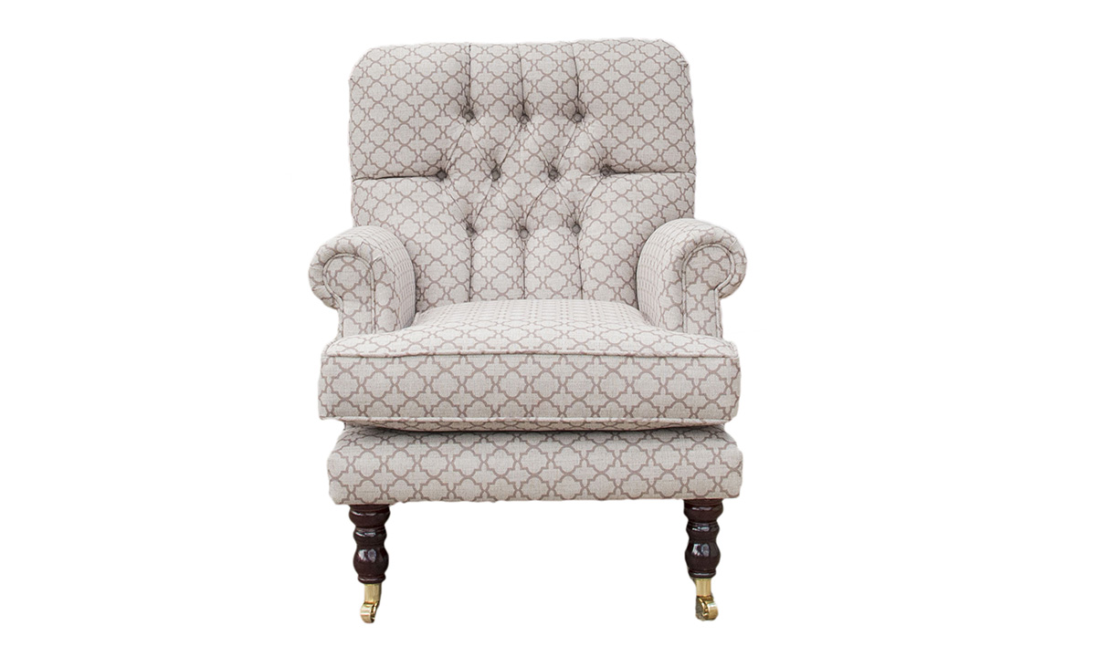 Bespoke Cleary Depp Buttoned Back Chair in Digital Trellis Taupe, Silver Collection Fabric