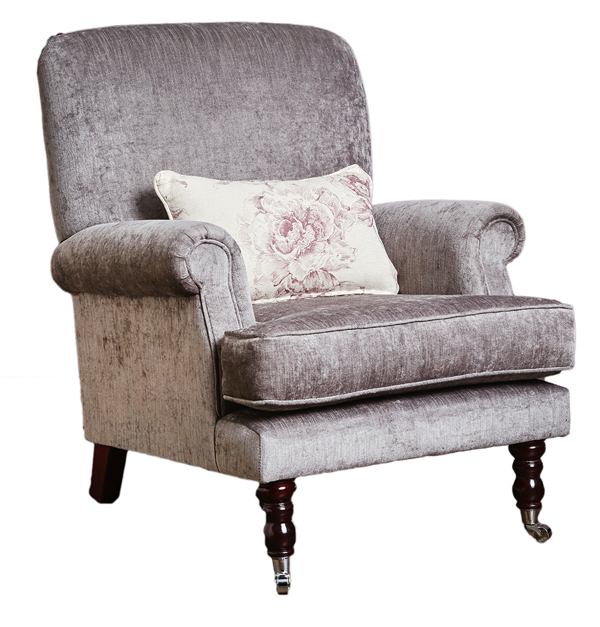 Cleary Chair Side in Edinburgh Truffle Silver Collection Fabric