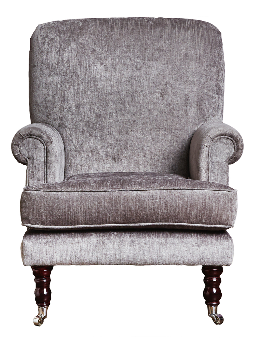 Cleary Chair in Edinburgh Truffle Silver Collection Fabric