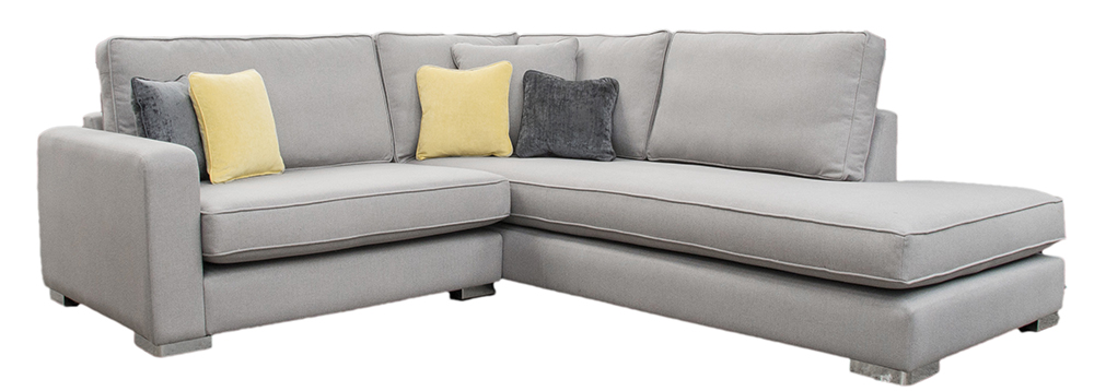 Collins Corner Chaise Sofa - San Francisco Light - Bespoke Size Love Seat Side to Finish 138cm & Back Cushions Raised 3""