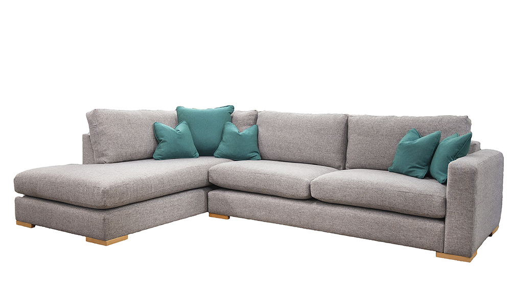 Collins Corner Chaise Sofa in Milwaukee Grey, Bronze Collecton Fabric