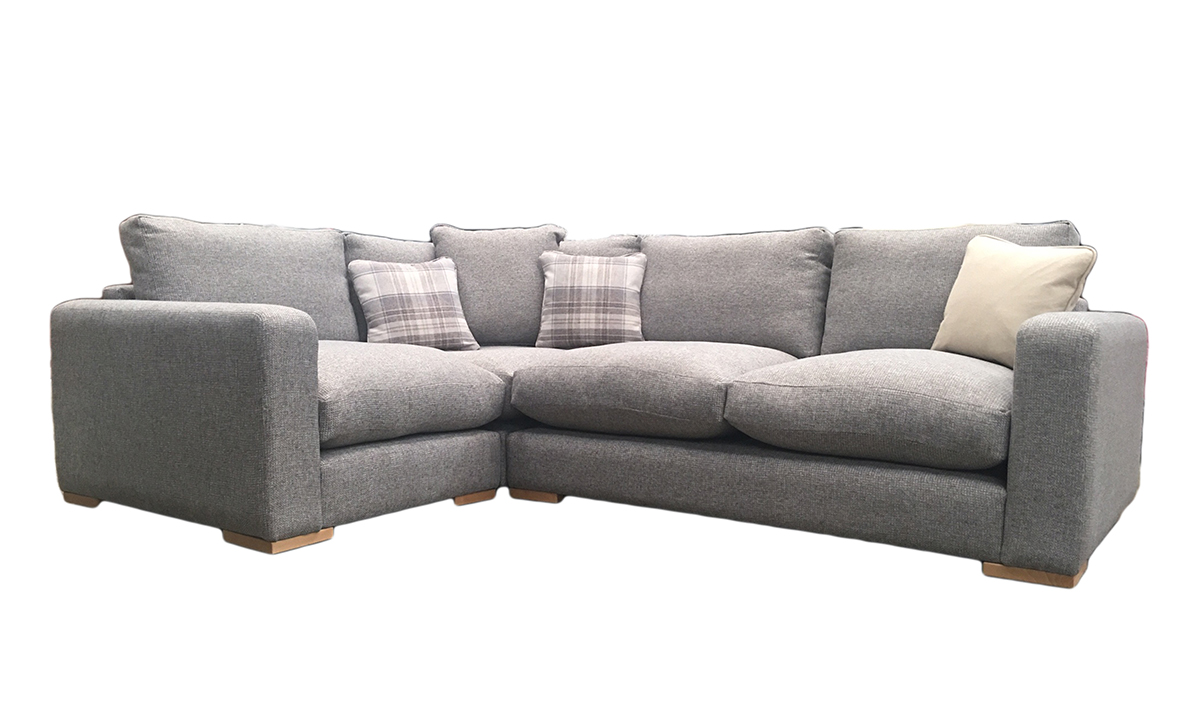 Collins Corner Sofa with Fibre Filled Seat Cushion in Milwaukee Grey, Bronze Collection Fabric