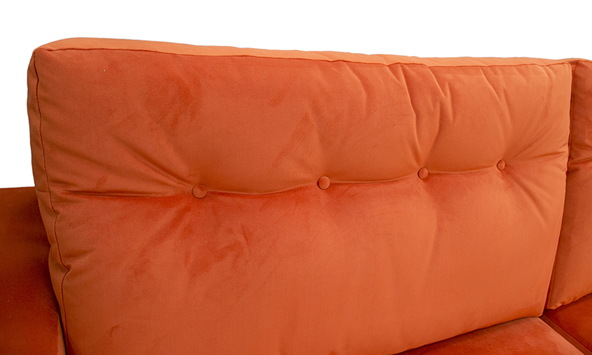 Bespoke Collins Large Sofa Detail with Light Button Back in Warwick Plush Paprika