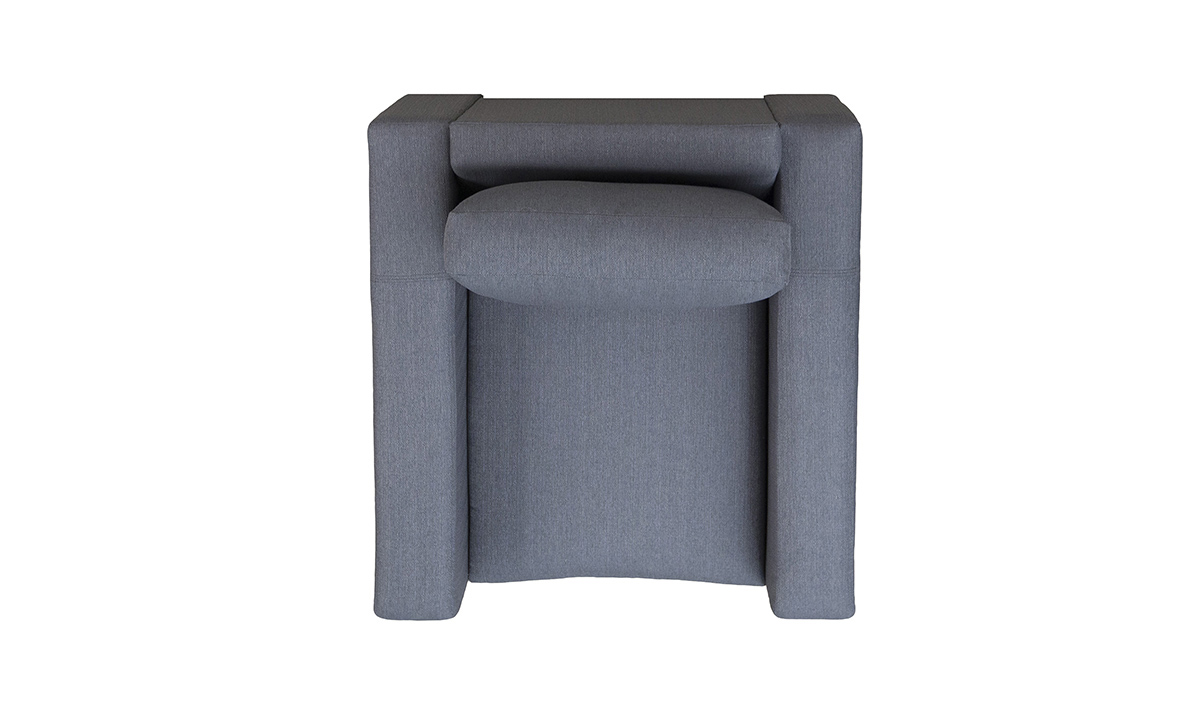 Collins Chair Top View in Aosta Charcoal, Silver Collection Fabric