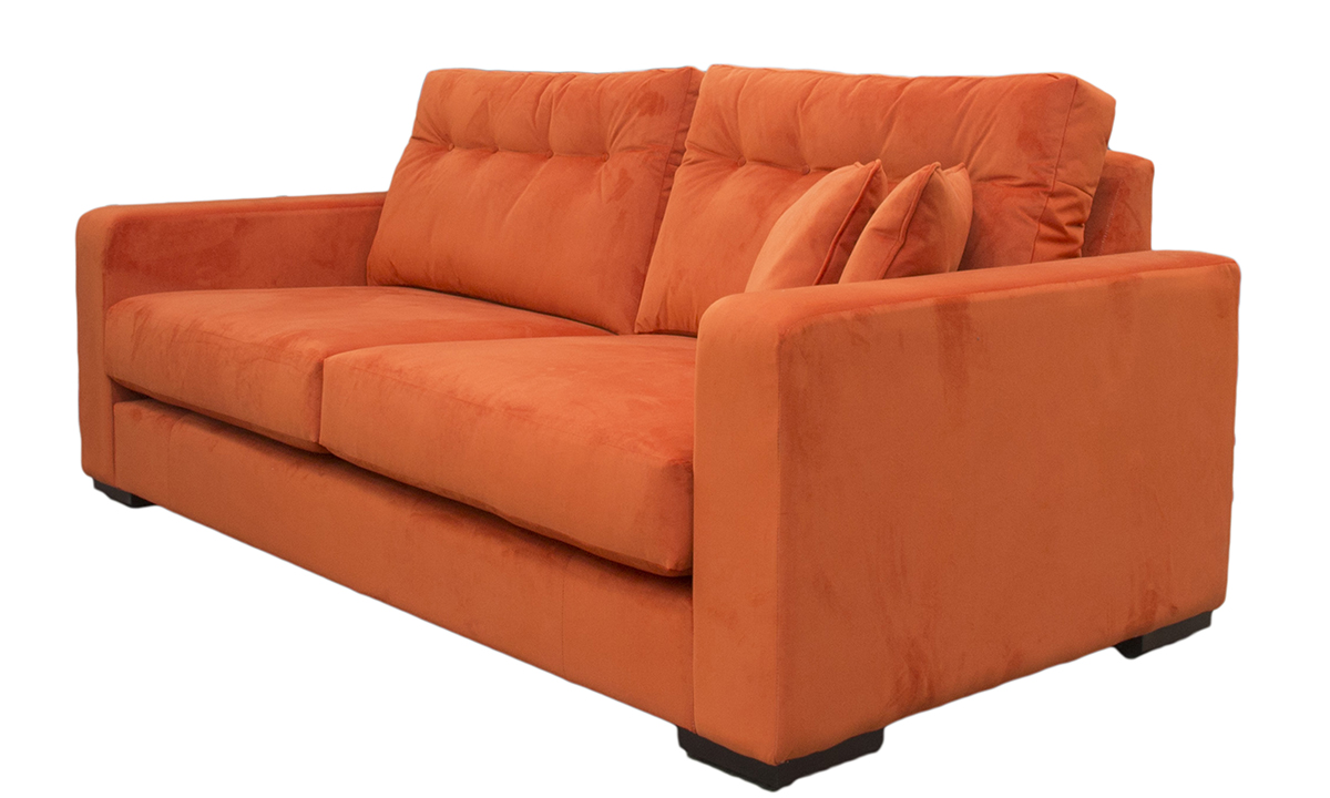 Bespoke Collins Large Sofa with Light Button Back in Warwick Plush Paprika