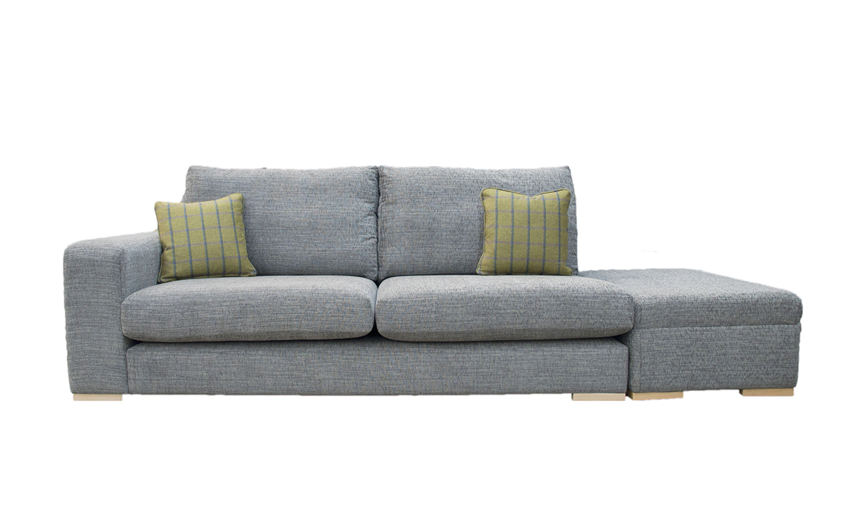 Collins Sofa with 1 Arm & Island in Corrine Charcoal, Bronze Collection Fabric