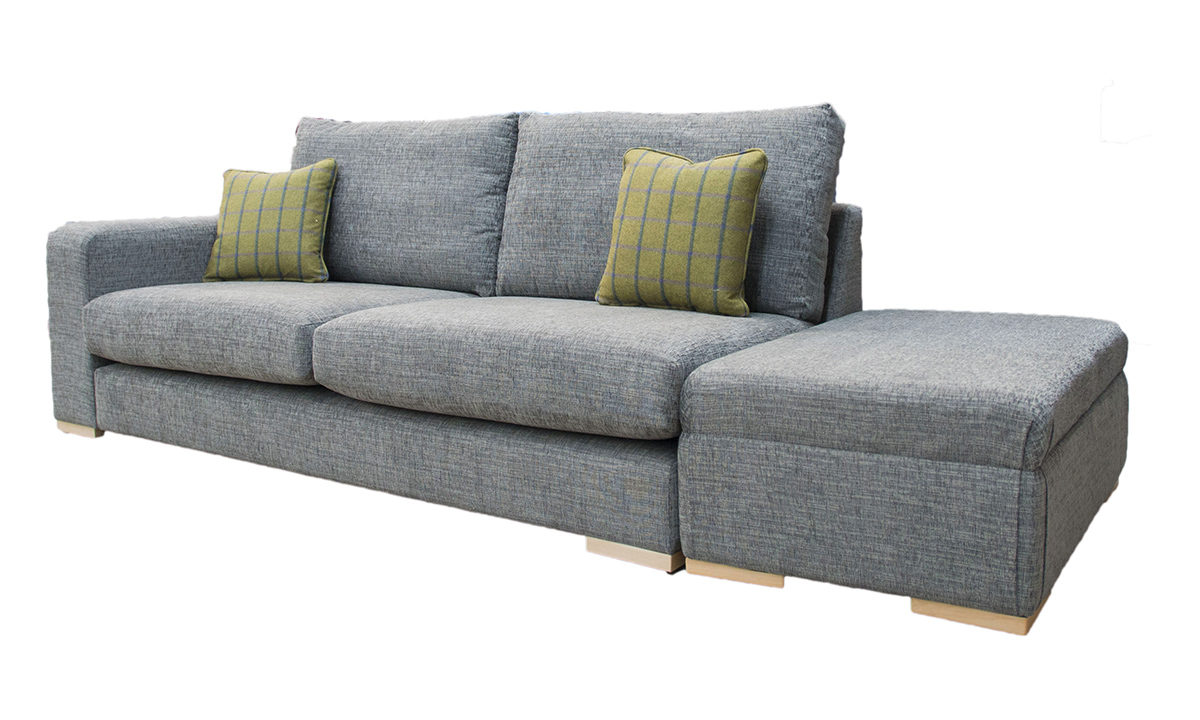 Collins Sofa with 1 Arm & Island Footstool  in Corrine Charcoal, Bronze Collection Fabric