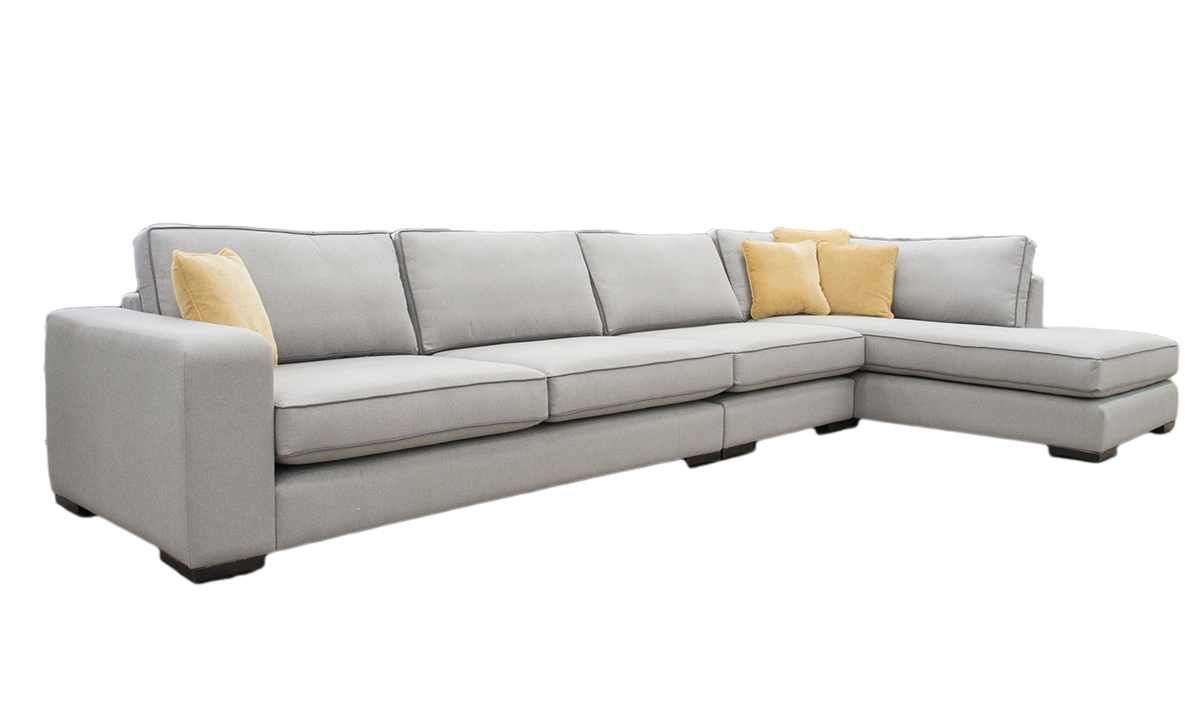 Colorado Corner Chaise Sofa in Bronze Collection Fabric