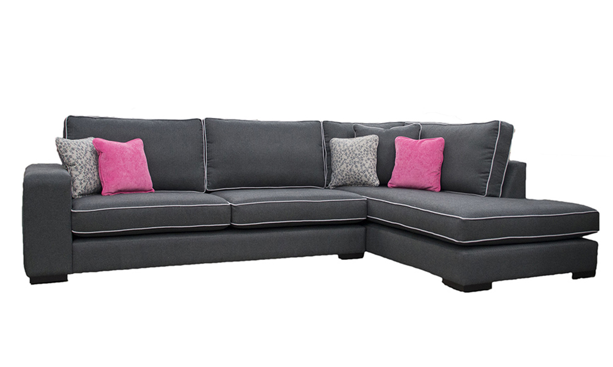 Colorado Corner Chaise Sofa in Tweed Charcoal,,Silver Collection Fabric