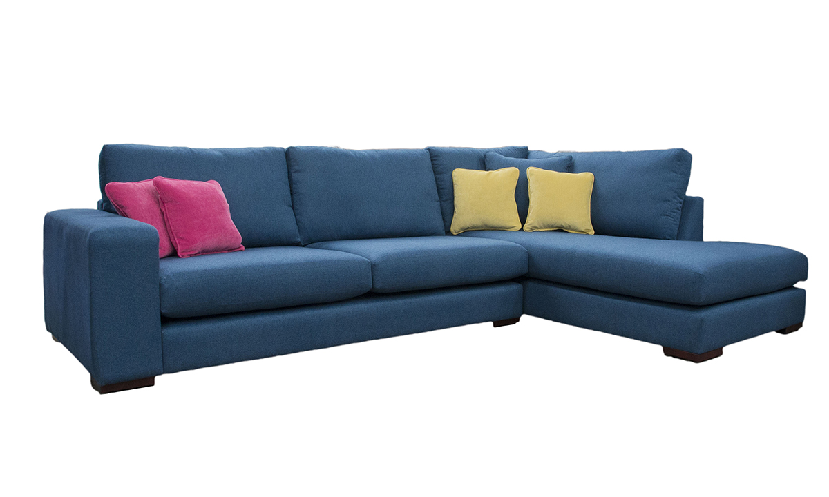 Bespoke Colorado Corner Chaise Sofa, back Cushions Raised  in Tweed Navy, Silver Collection Fabric