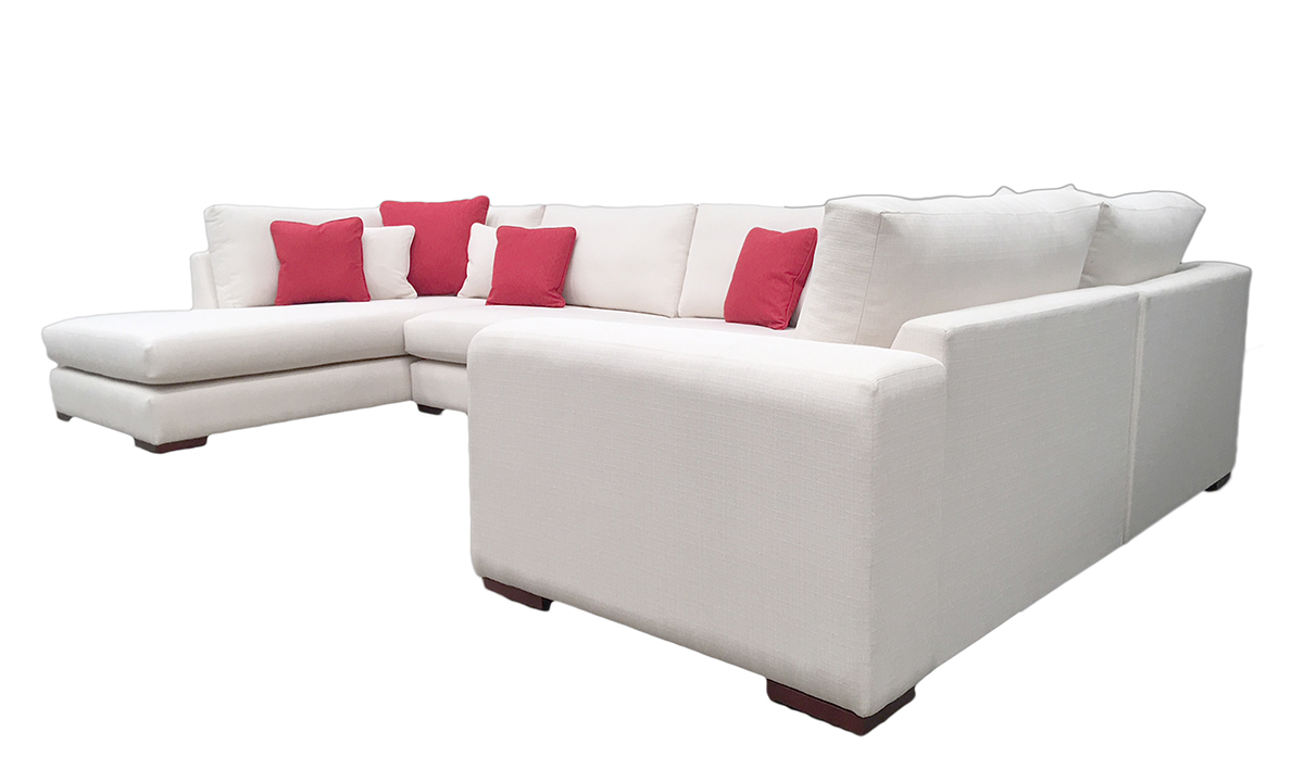 Colorado Corner Chaise Sofa in Aosta Cream, Silver Collection Fabric