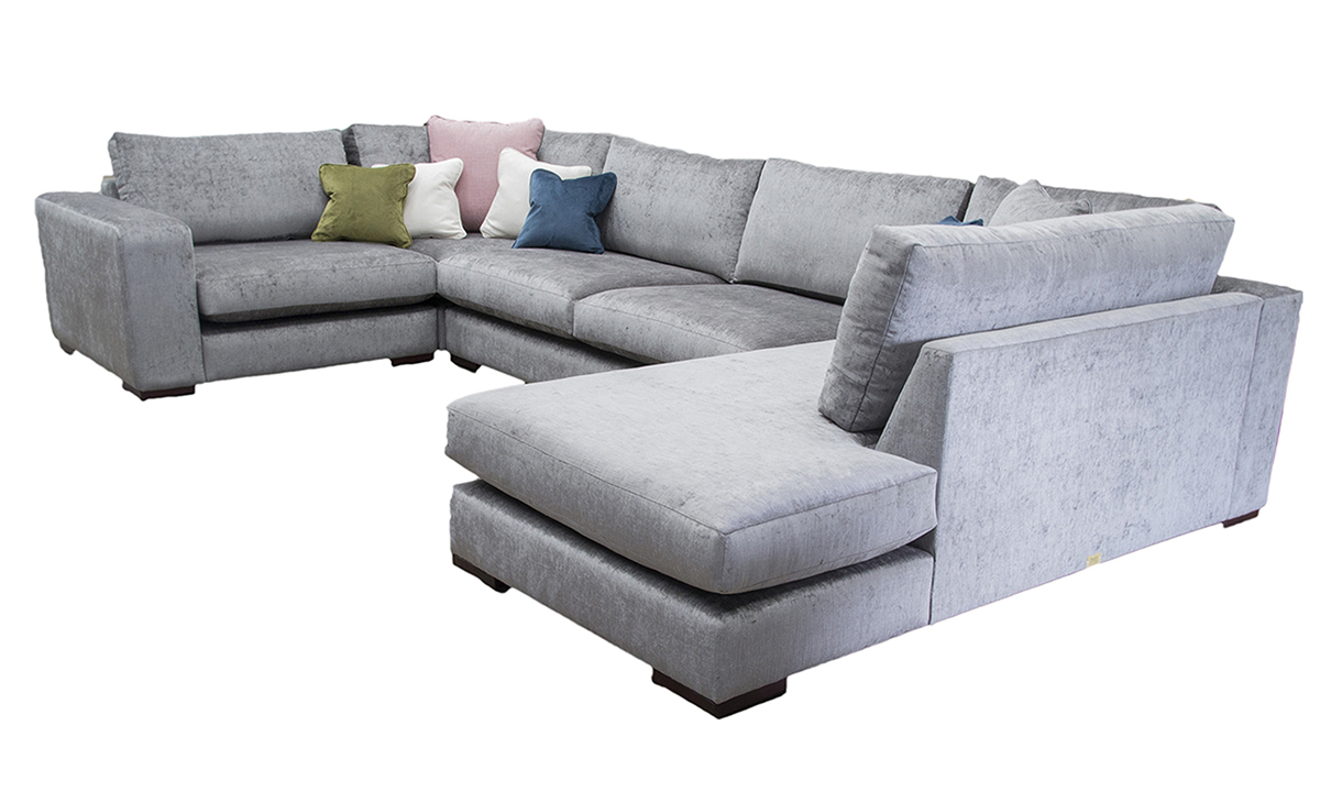 Colorado Corner Chaise Sofa in Edinburgh Truffle, Silver Collection Fabric