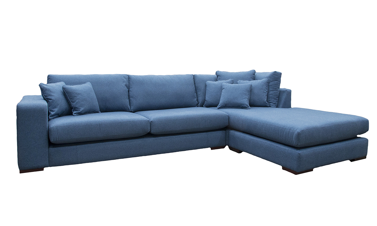 Colorado Corner Chaise Sofa in Tweed Navy, Silver Collection Fabric