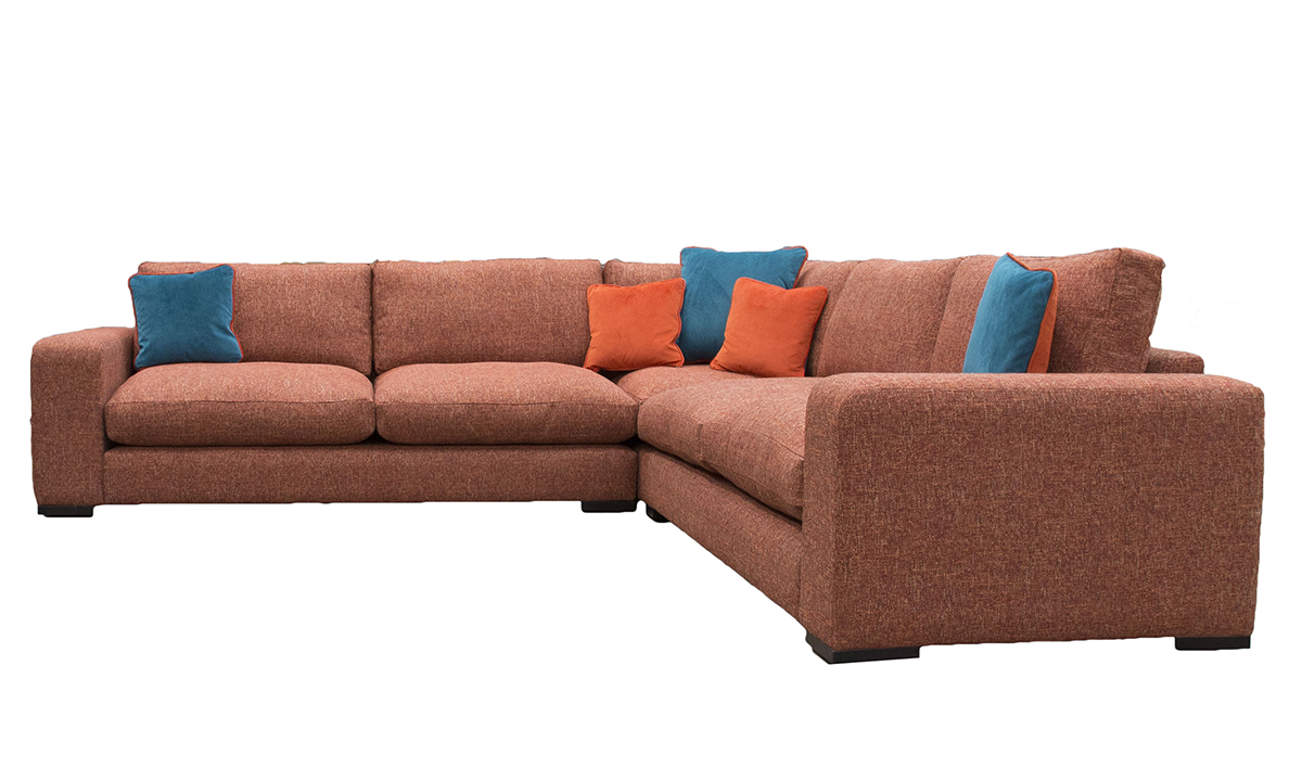 Colorado Corner Sofa Mobus Vegas Burnt Orange , Gold Collection Fabric