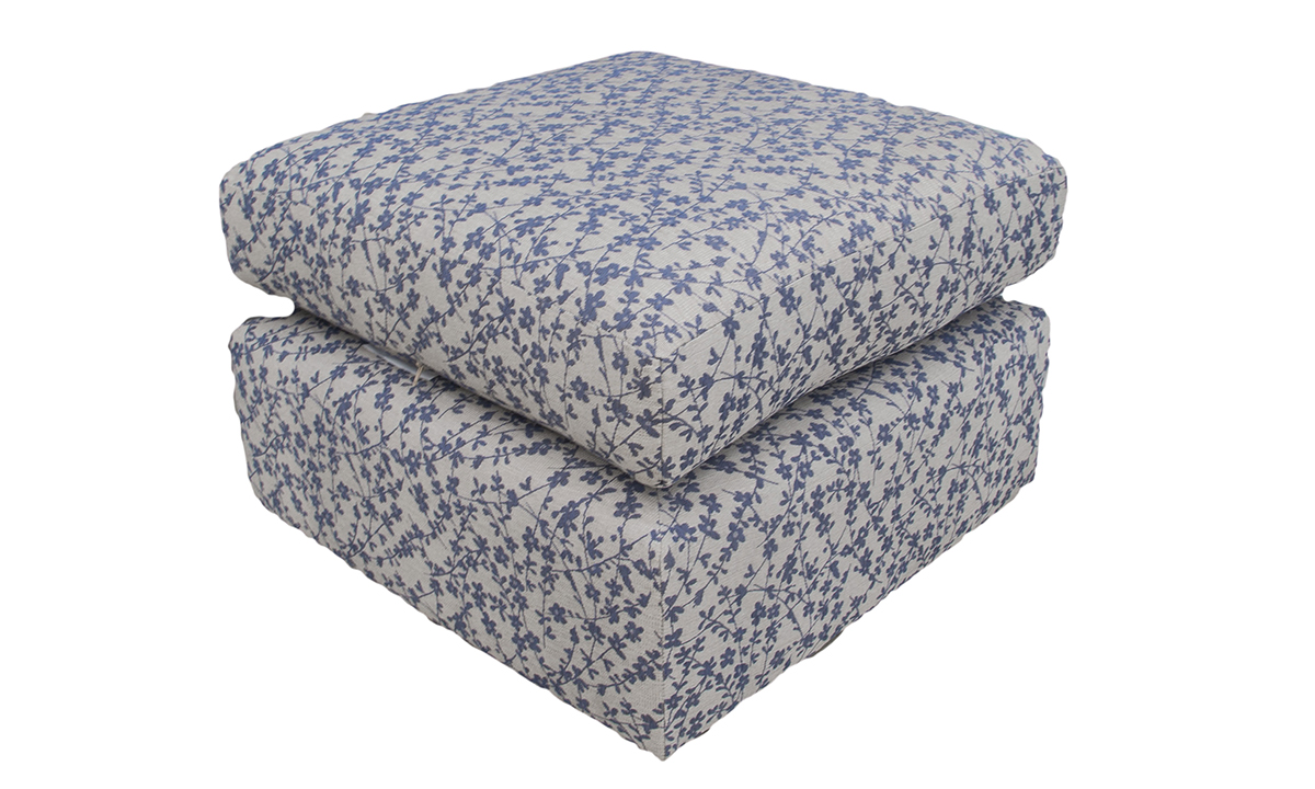 Como Footstool in Kwint Navy, Silver Collection Fabric