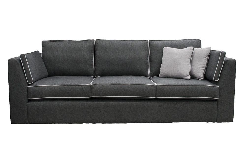 Como Large Sofa in Tweed Charcoal, Silver Fabric Collection
