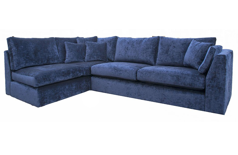 Como Corner Sofa in Modena Velvet, Platinum Fabric Collection
