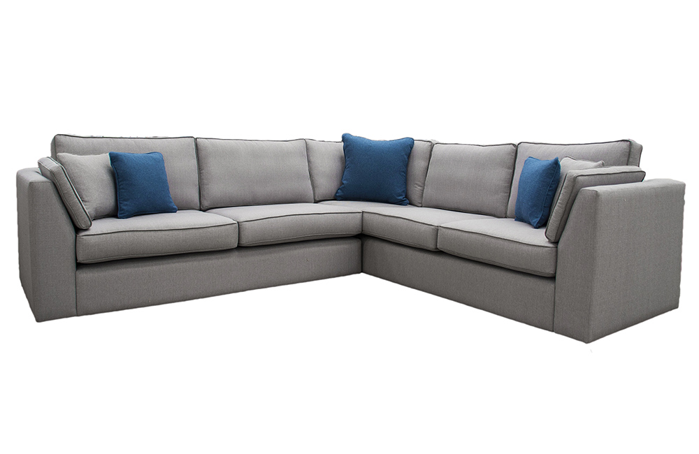 Bespoke Size Como Corner Sofa  in Aosta Grey, Silver Fabric Collection