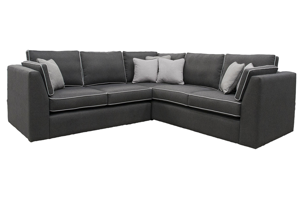 Como Corner Sofa bespoke in Tweed Charcoal, Bronze Fabric Collection