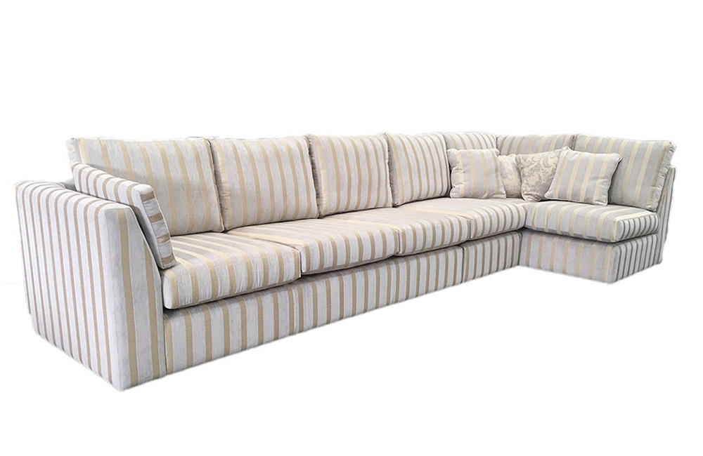 Bespoke Size Como Corner Sofa in Burton Stripe Mist, Silver Fabric Collection