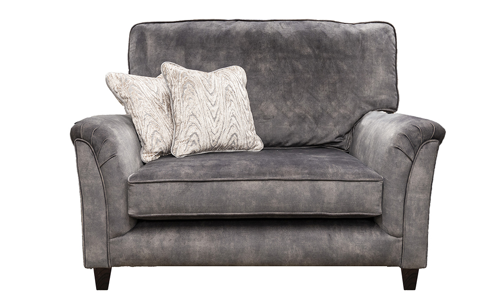 Cumbria Love Seat in Lovely Asphalt, Gold Collection Fabric