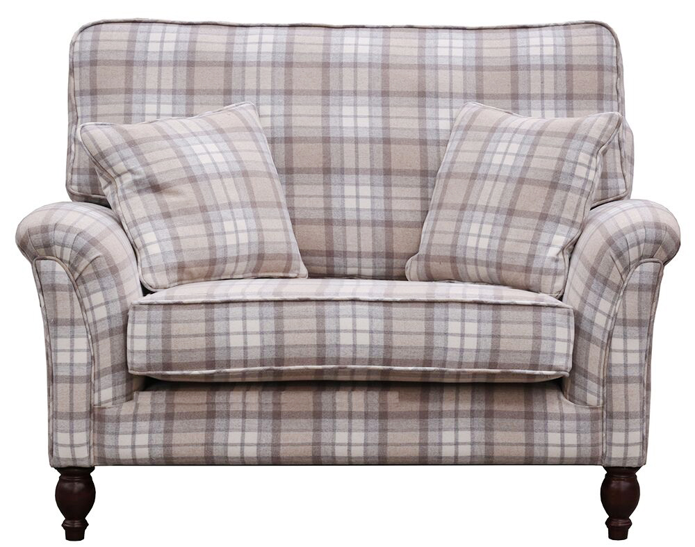 Cumbria Love seat in Aviemore Plaid Linen  Silver Collection Fabric