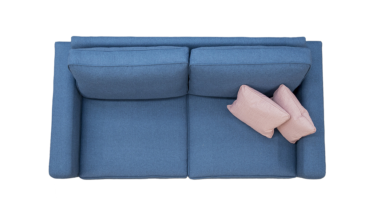 Daytona Small Sofa Top View in Tweed Navy Silver Collection