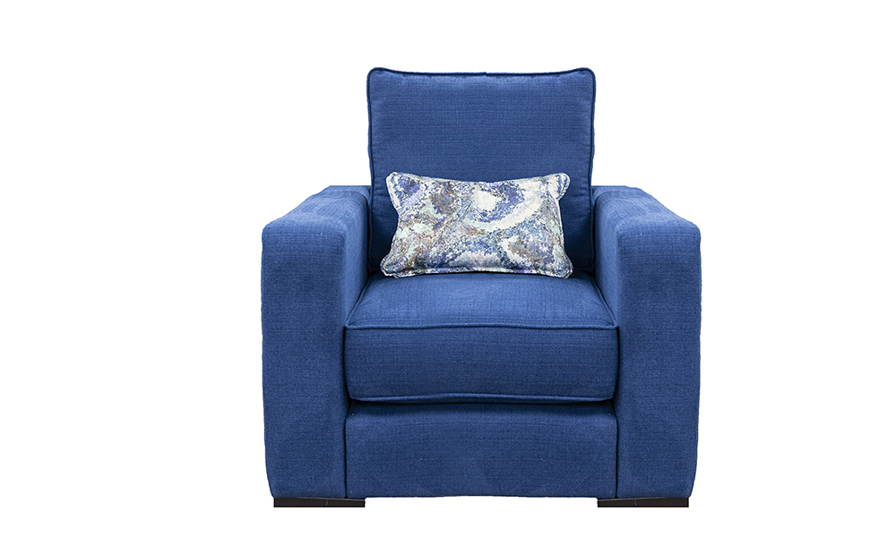 Daytona Chair in JBrown Hendrix Sapphire 603, Silver Collection Fabric
