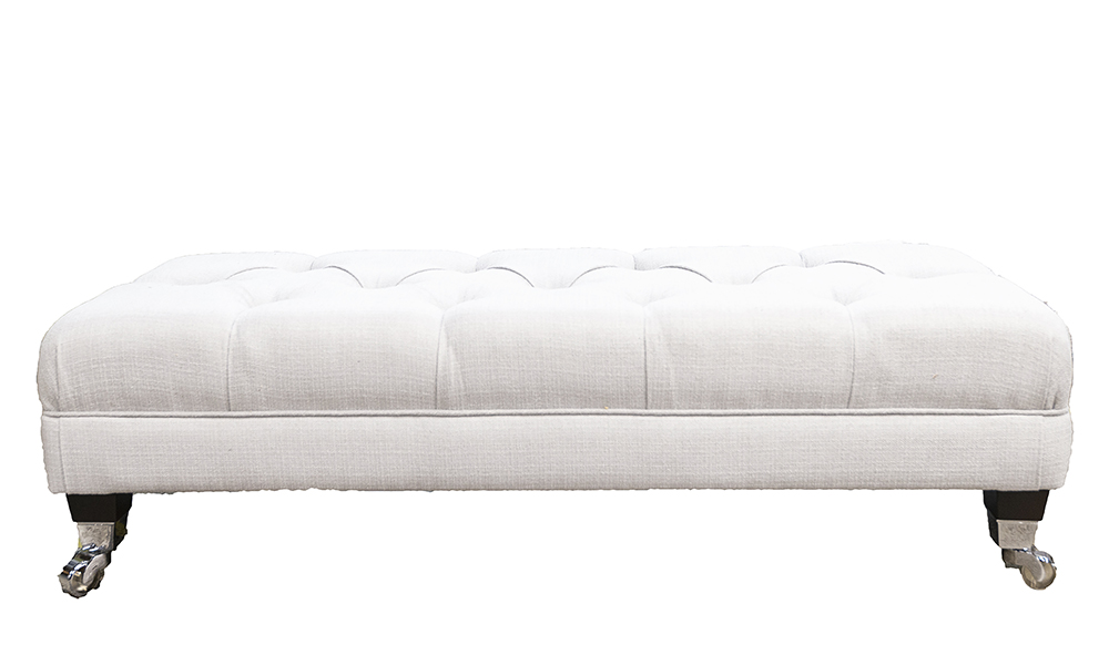 Ottolong Deep Button Footstool in JBrown Hendrix 808 Silver, Gold Collection Fabric