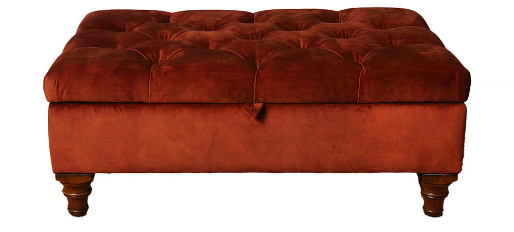 Deep Button Storage Ottoman in Lovely Umber Gold Collection Fabric