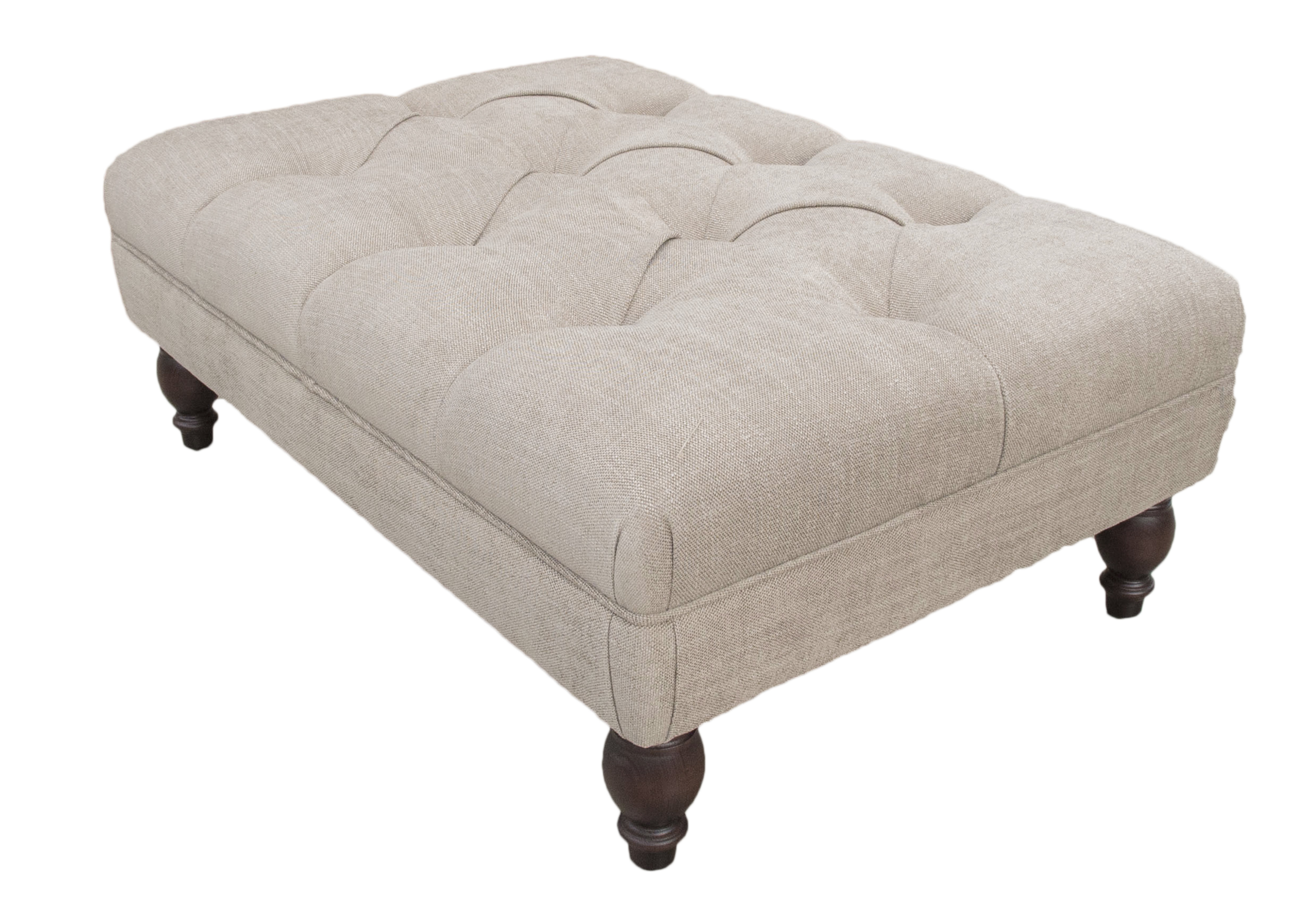 Deep Buttoned Footstool Silver Collection