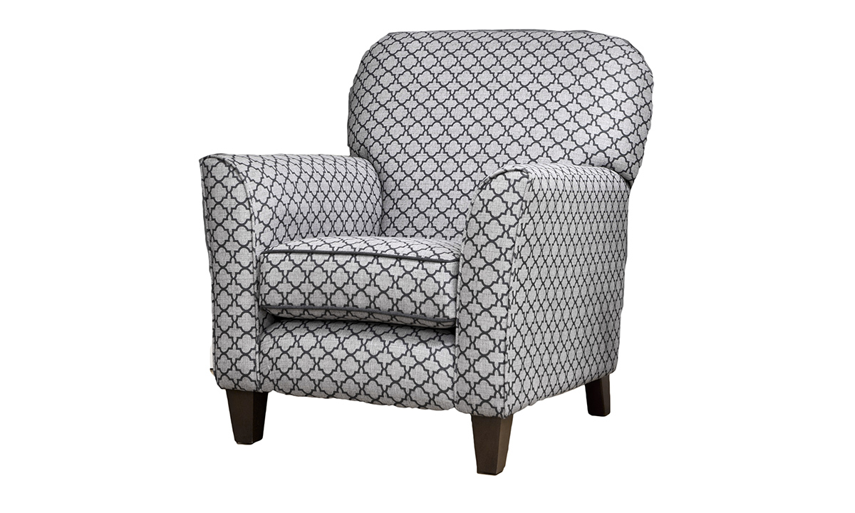 Dylan Chair in Digital Trellis Jet, Silver Collection Fabric