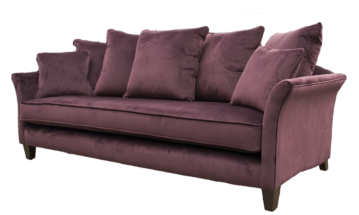 Elijah Large Sofa  in Luxor Aubergine, Silver Collection Fabric