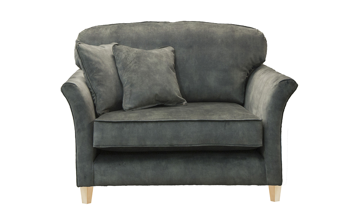 Elisha Love Seat in Lovely Jade, Gold Collection Fabric