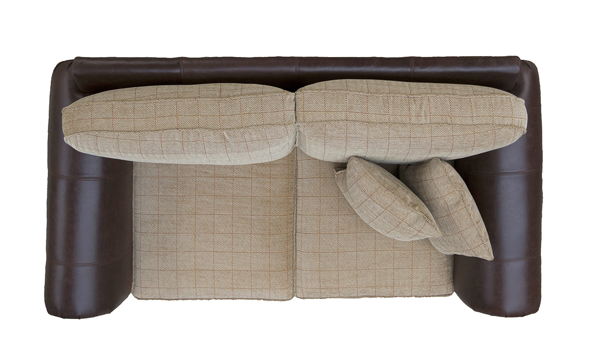 Eloise Small Sofa Top View in Mustang Dark Brown Leather & JBrown Skye 4 Check