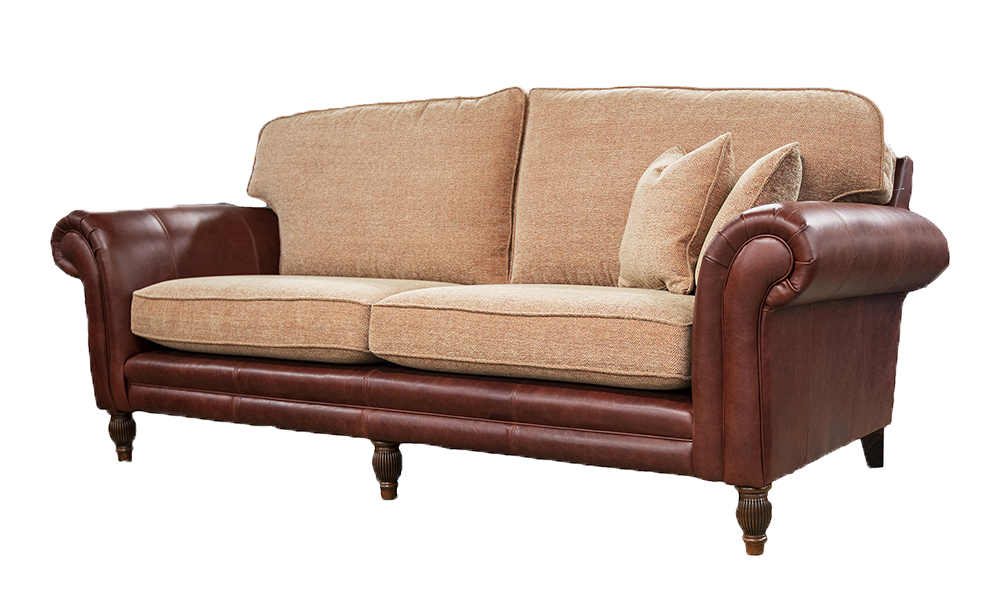 Grand Eloise Sofa, Mustang Leather & Jbrown Elgin 3 Terracotta